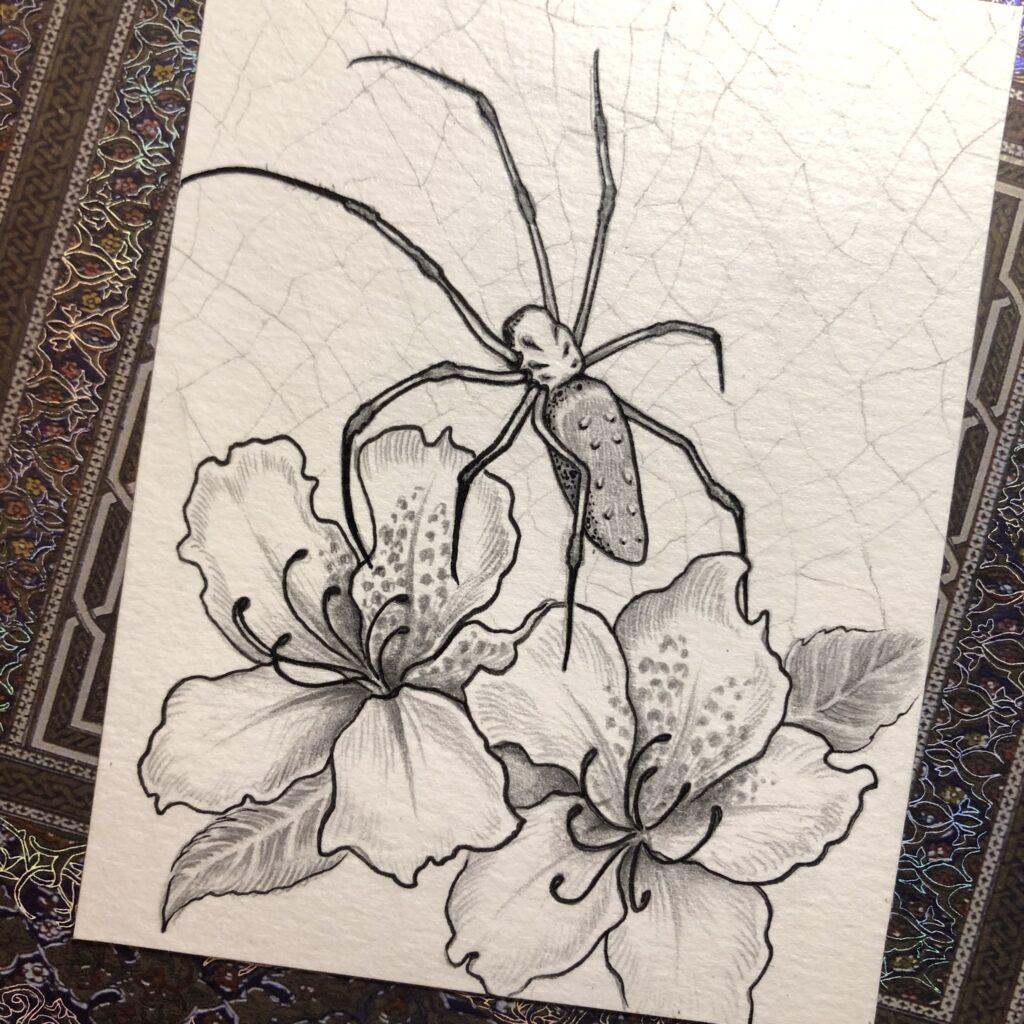 Orb Weaver & Azaleas | Pencil & Ink